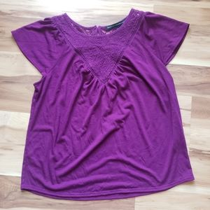White House Black Market magenta embroidered top